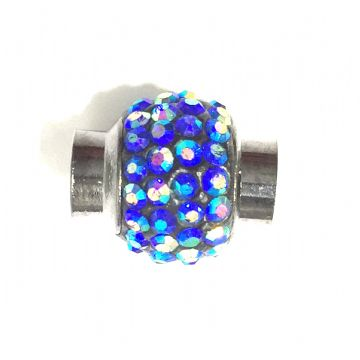 5mm x 15mm*12mm Blue AB stone pave crystal magnetic clasps -- gun metal